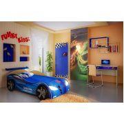 Кровать-машина Ниссан, арт. 20003 /спойлер и 2 колеса/ + Фанки Авто: шкаф, стол письменный, полка