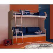 Двухъярусная кровать с лестницей и ограничителем ФС-02 серии Фанки Сити