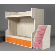 Кровать для двоих детей ФС-02 (бортик + лестница) с тумбой-лестницей ФС-10 серии Фанки Сити