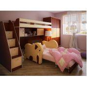 Детский диван Слоник + кровать-чердак Фанки Кидз 22 + шкаф-купе + тумба-лестница