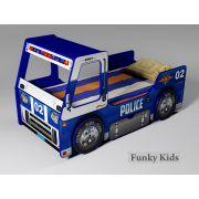 Детская кровать-машина Полиция в синем цвете с объемными колесами