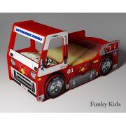 Кровать-машина Пожарная для детей с ящиком для игрушек