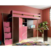 Детская кровать-чердак Соло 1 с рабочей зоной. Венге/Розовый