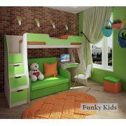 Детский уголок: кровать-чердак Фанки Кидз 23/1 с лестницей + раскладной диван Бланес 2 + стол письменный 23/2