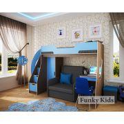 Детская мебель для двоих детей: чердак Фанки Кидз 23/1 + диван-кровать Бланес 3 + стол 23/2 + пенал для одежды 23/5