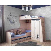 Двухъярусная кровать Капитан КП-4/1 + КП-13/7 и бортик 13/17 к нижней кровати
