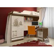 Кровать чердак Пираты ПР-4/1 + стол письменный ПР-13/1