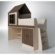 Детская кровать чердак ФК Домик 6/2 со спальным местом 160х70 см