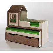 Детская двухъярусная кровать ФК Домик 8/2 с выкатным спальным местом
