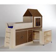 Кровать чердак ФК Домик 10/2 для детей с выкатным столом