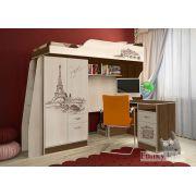 Кровать-чердак Фанки Тревел ФТР - 4/1 с письменным столом 13/1 в комплекте