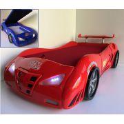 Кровать машина Фанки Энзо с ящиком для белья, матрасом, светящимися фарами и спойлером арт. 200015