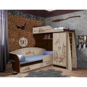 Кровать-чердак ГП-4/1 + одноярусная кровать ГП-13/7 + бортик 13/17 мебель Гарри Поттер