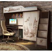 Кровать-чердак со столом ГП-4 + тумба-лестница ГП-13/8 мебель Гарри Поттер