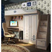 Мебель Капитан: кровать-чердак КП-4 + лестница-комод КП-13/8