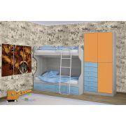 Детская двухъярусная кровать ФС-02 и шкаф ФС-07 Фанки Сити