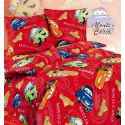 Детское постельное белье Тачки Молния друзья, арт. 103 красный/синий