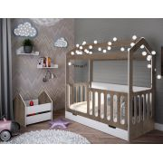 Детская кровать Домик Сказка ДС-1/2 с ящиком для игрушек и полками